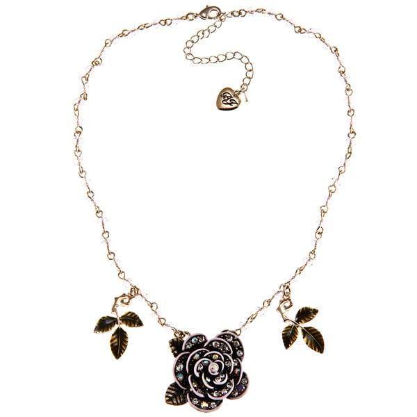 Betsey Johnson Pink Gitter Rose Pendant Necklace