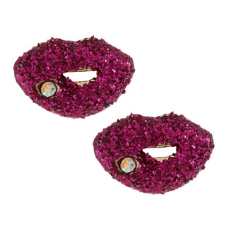 Betsey Johnson Glitter Lip Stud Earrings