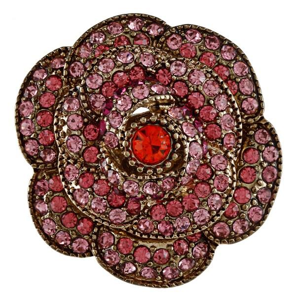 Betsey Johnson Large Pave Rose Stretch Fashion Ring
