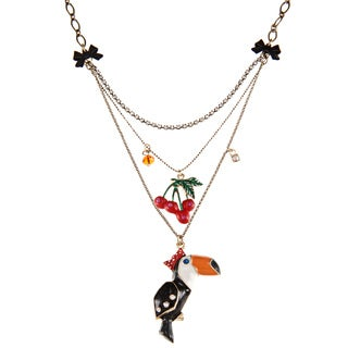 Betsey Johnson 3-row Toucan Pendant Necklace