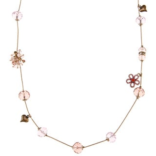 Betsey Johnson Flower Charm Bead Necklace