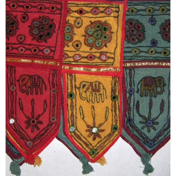 Handmade Cotton Rajastani Mirrored Window/Door Toran , Handmade in India