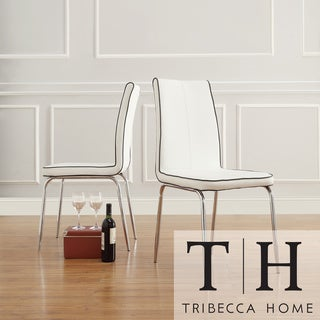 TRIBECCA HOME Matilda White Retro Modern Dining Chair (Set of 2)
