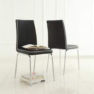 TRIBECCA HOME Matilda Black Retro Modern Dining Chair (Set of 2)