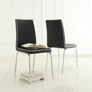 TRIBECCA HOME Matilda Black Retro Modern Dining Chair (Set of 2)
