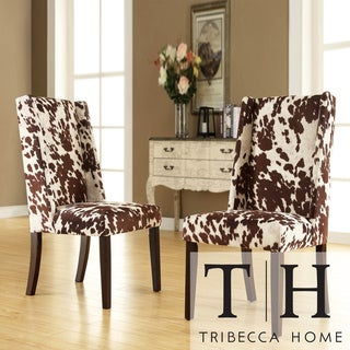 TRIBECCA HOME Ian Brown Cow Hide Wingback Dining Chair (Set of 2)