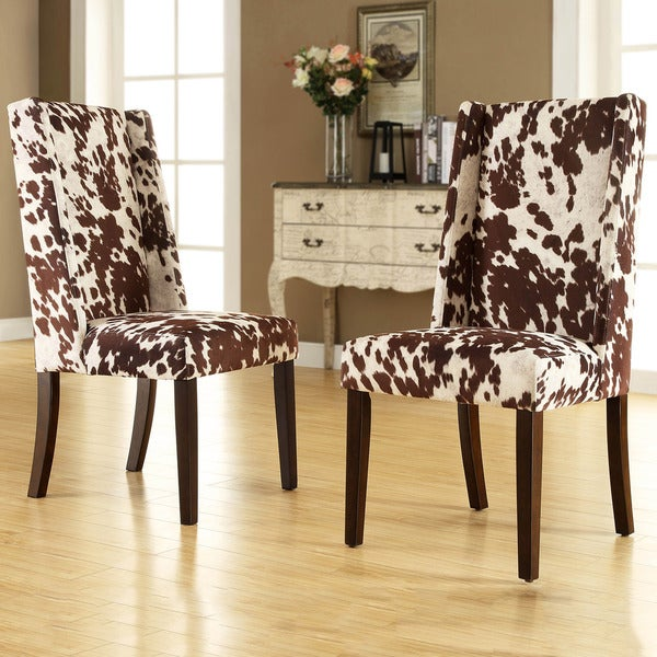 tribecca home ian brown cow hide wingback dining chair set of 2