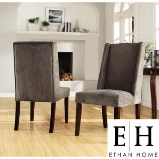 ETHAN HOME Ian Grey Chenille Wingback Dining Chair (Set of 2)