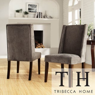 TRIBECCA HOME Ian Grey Chenille Wingback Dining Chair (Set of 2)