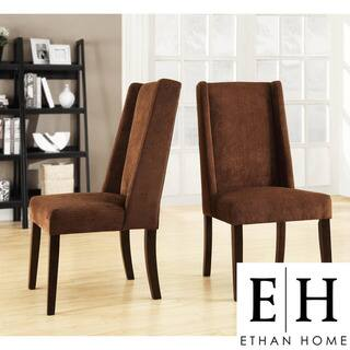 ETHAN HOME Ian Chocolate Chenille Wingback Dining Chair (Set of 2)