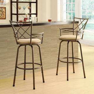 Avalon Double 'X' Back Adjustable Swivel Arm Stool (Set of 2)