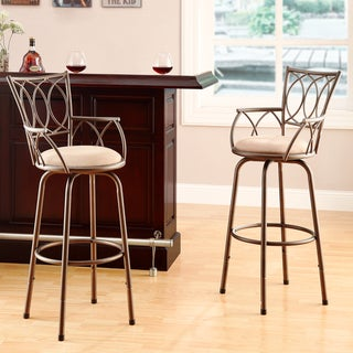 Avalon Scroll-Back Adjustable Swivel Arm Stool (Set of 2)