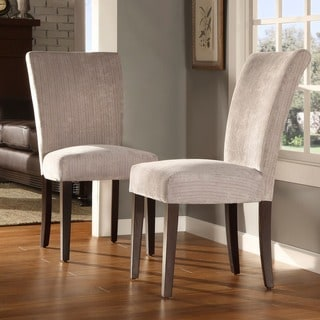 TRIBECCA HOME Silver Gray Chenille Parson Chairs (Set of 2)