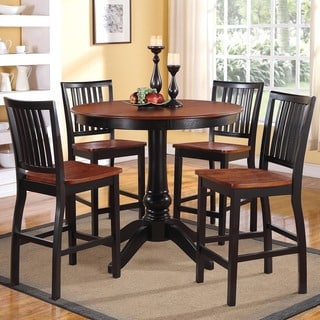 Kendall Two-tone Cherry Black 5-piece Casual Counter Height Set