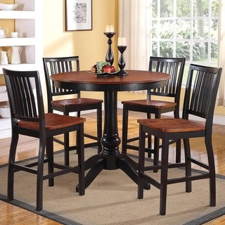 Tribecca Home Kendall Two-tone Cherry Black 5-piece Casual Counter Height Set