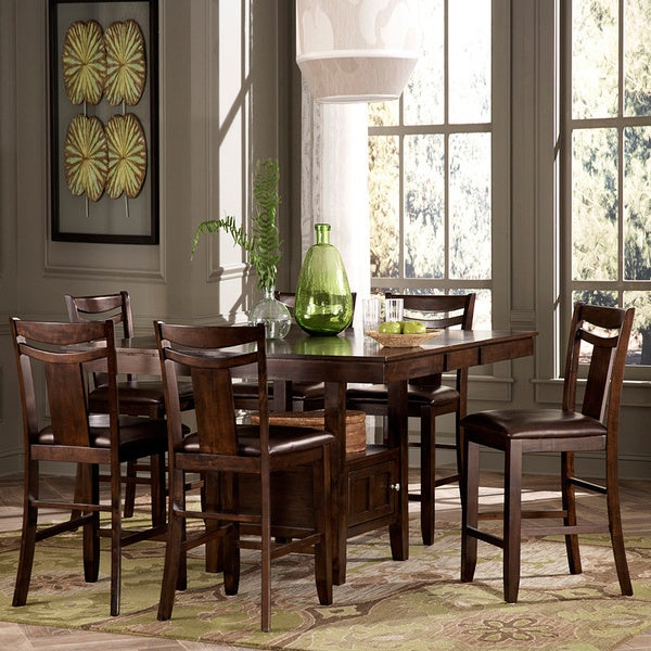 home marsden rustic brown 7 piece mission counter height dining set