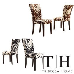 TRIBECCA HOME Portman Cow Hide Parson Side Chairs (Set of 2)