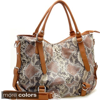 Dasein Two-Tone Python Embossed Zip-Top Tote Bag