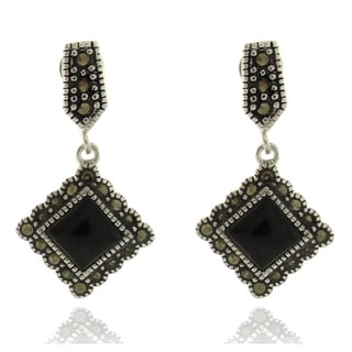 Dolce Giavonna Silver Overlay Black Onyx and Marcasite Dangle Earrings