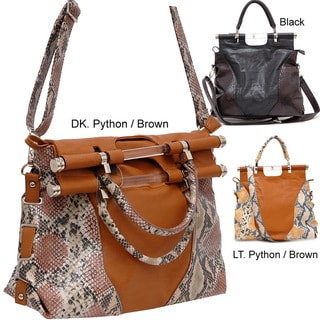 Dasein Two-Tone Python Embossed Tall Satchel Bag With Shoulder Strap
