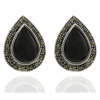 Dolce Giavonna Silverplated Black Onyx and Marcasite Teardrop Stud Earrings