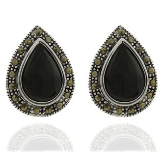 Dolce Giavonna Silver Overlay Black Onyx and Marcasite Teardrop Stud Earrings