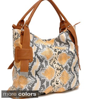 Dasein Two-Tone Python Embossed Tote Bag