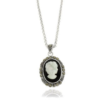 Dolce Giavonna Silver Overlay Black Onyx and Marcasite Cameo Shell Necklace