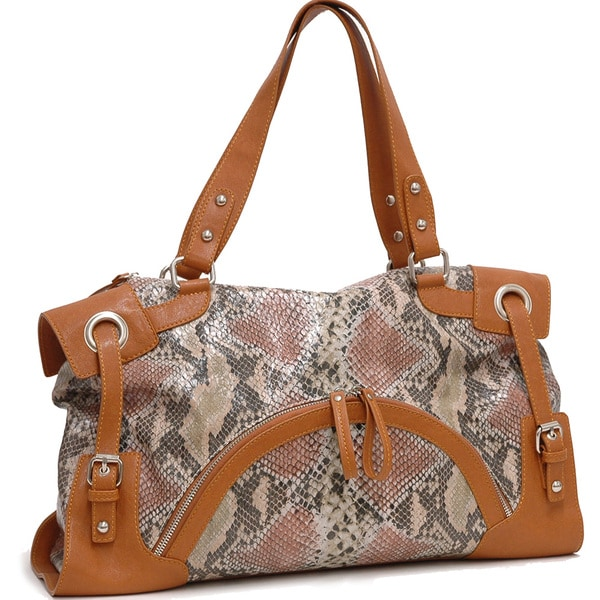 Dasein 2-Tone Python Embossed Zip Front Pocket Handbag