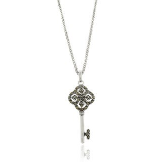 Dolce Giavonna Silver Overlay Marcasite Lucky Four Key Necklace