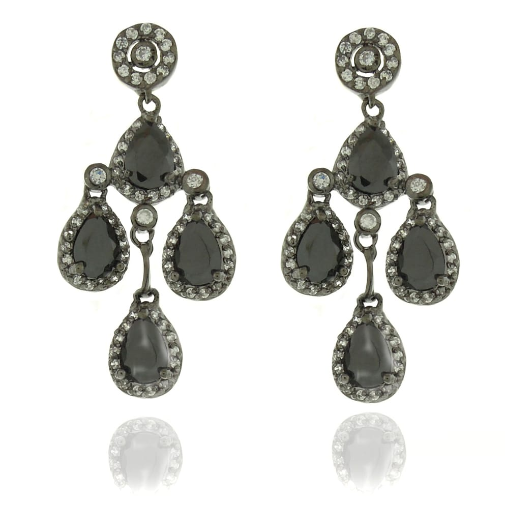 Dolce Giavonna Black-plated Black and White Cubic Zirconia Chandelier Earrings