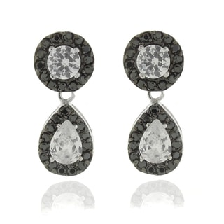 Dolce Giavonna Silver Overlay Black and White Cubic Zirconia Teardrop Dangle Earrings