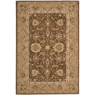 Safavieh Handmade Anatolia Brown/ Sage-Grey Hand-spun Wool Rug
