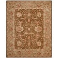 Safavieh Handmade Anatolia Brown/ Sage-Grey Hand-spun Wool Rug