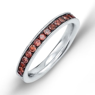 Sterling Silver Men's 3/8ct TDW Red Diamond Band