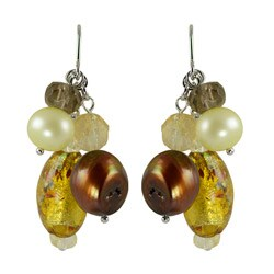Pearls For You Silver Pearl, Gemstone and Glass Bead Earrings (6-9.5 mm)