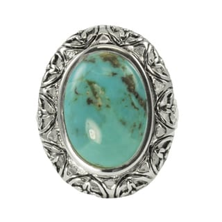 Gems For You Sterling Silver Oval Turquoise Ring