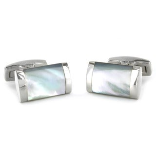 Crucible Stainless Steel White Mother of Pearl Inlay Rectangular Cuff Links