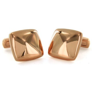 Stainless Steel Square Rose Gold Plated Cuff Links