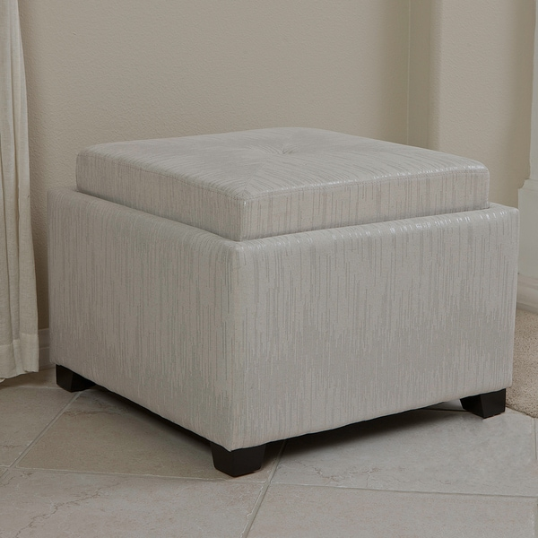 Christopher Knight Home Andrea Silver Tray Top Storage Ottoman