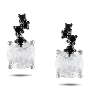 Miadora 10k White Gold White Topaz and 1/4ct TDW Black Diamond Earrings