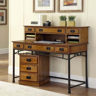 Modern Craftsman Executive Desk, Hutch/ Mobile File