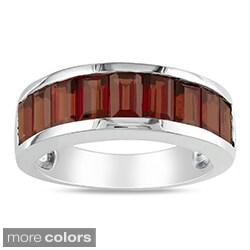 Miadora Sterling Silver Baguette-cut Garnet or Peridot Ring