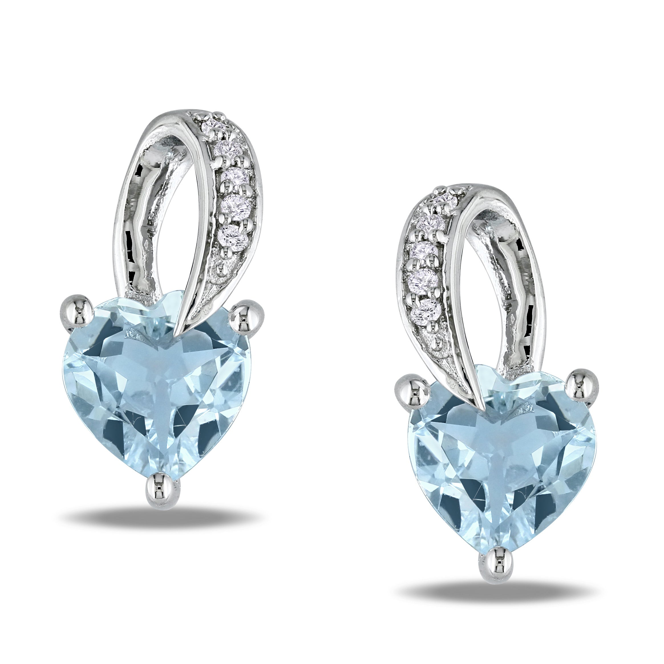 Miadora Sterling Silver Aquamarine and Diamond Heart Earrings HI,I3