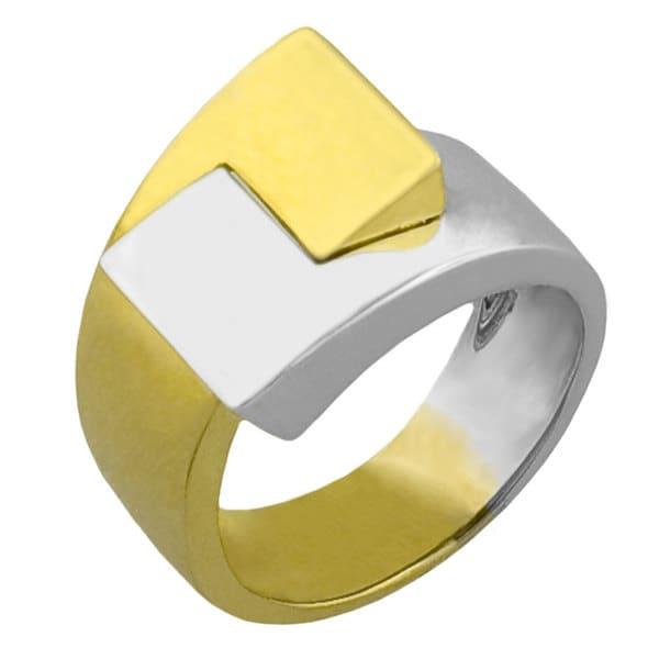 Fremada 14k Two-tone Gold Buckle Design Ring