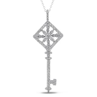 Miadora Sterling Silver White Cubic Zirconia Key Necklace