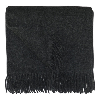 Bocasa Anthracite Woven Wool Blanket Throw