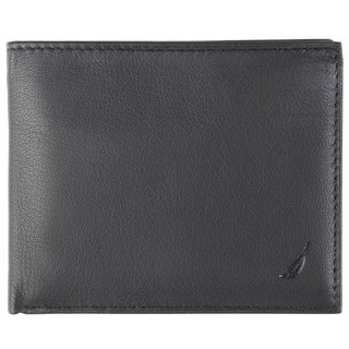 Nautica Men's Genuine Leather Topstitched Passcase Wallet