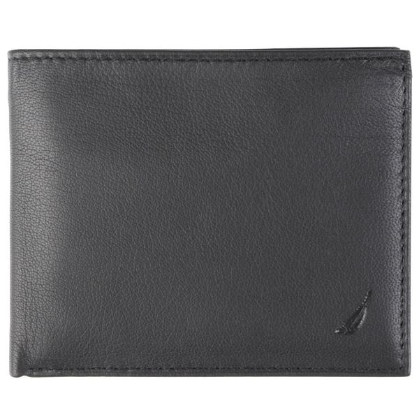 Nautica Men's Genuine Leather Topstitched Passcase Wallet