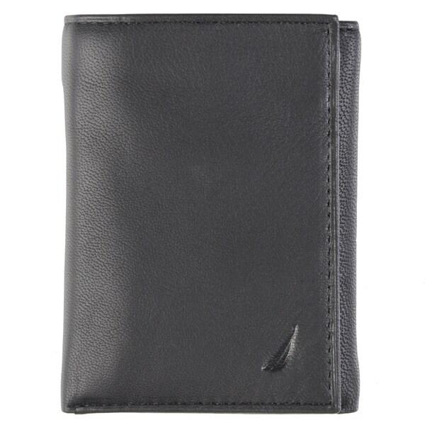 Nautica Men's Genuine Leather Trifold Wallet